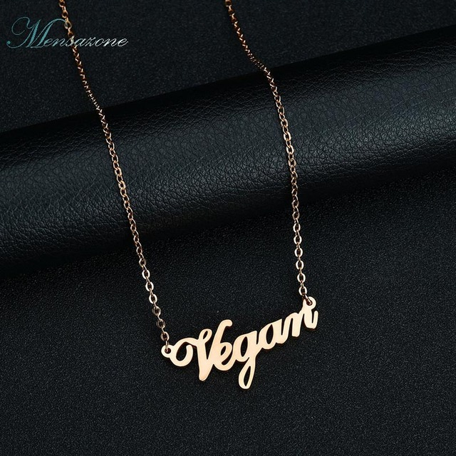 Mensazone Vegetarian Symbol Pendant Necklace 3 Colors Stainless