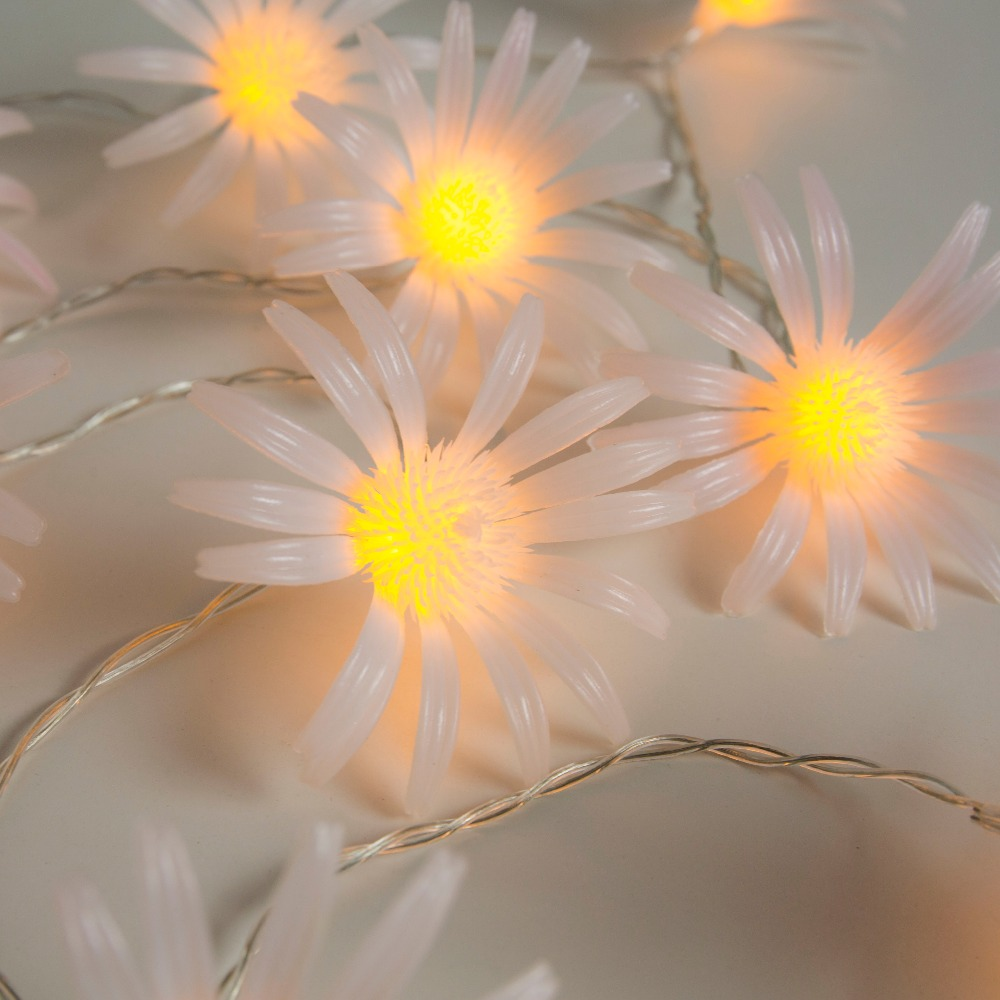 8CM 20 Daisy chrysanthemum Flower Battery Operate String Lights Decorative LED fairy Lights for Party Wedding Decoration