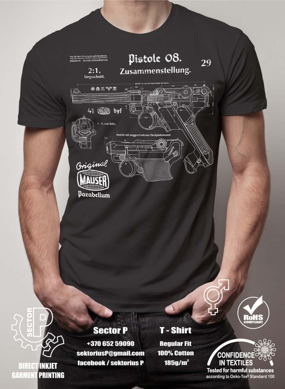 New Fashion Cool Casual T Shirts WW2 German Pistole  Parabellum P08 Luger Vintage Drawings Printed T-Shirts T Shirts