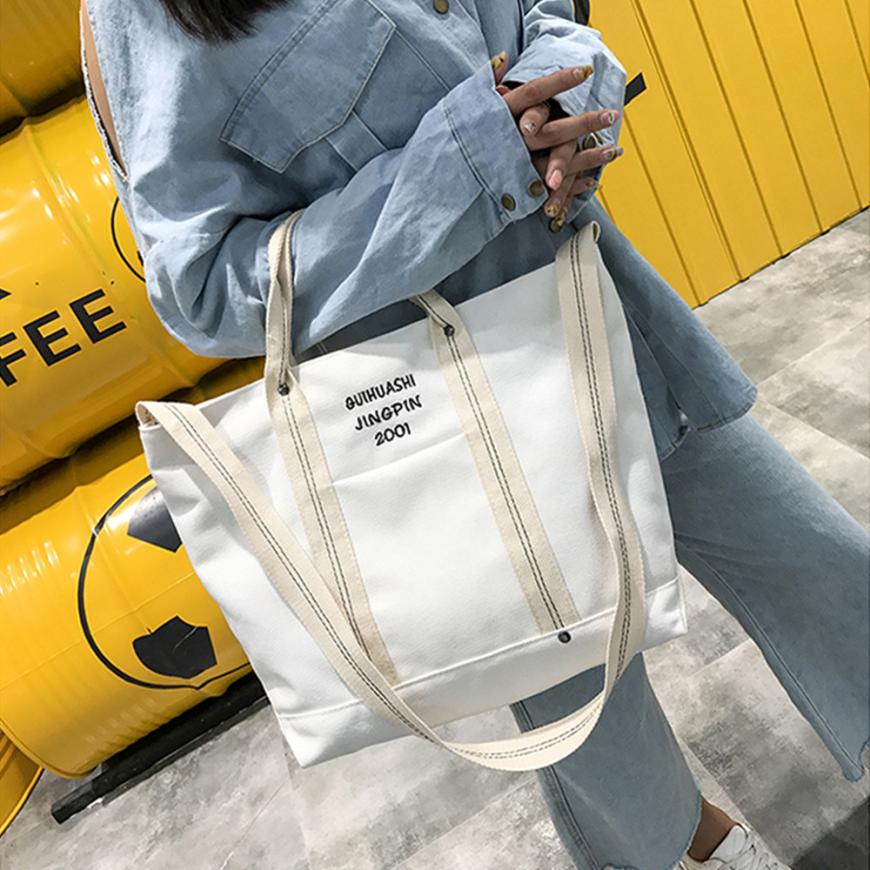 Canvas Bags For Leisure Letter Canvas Tote Zipper Bag Shoulder Bag Small Cross Body Bags Bolso Mujer#WMEW