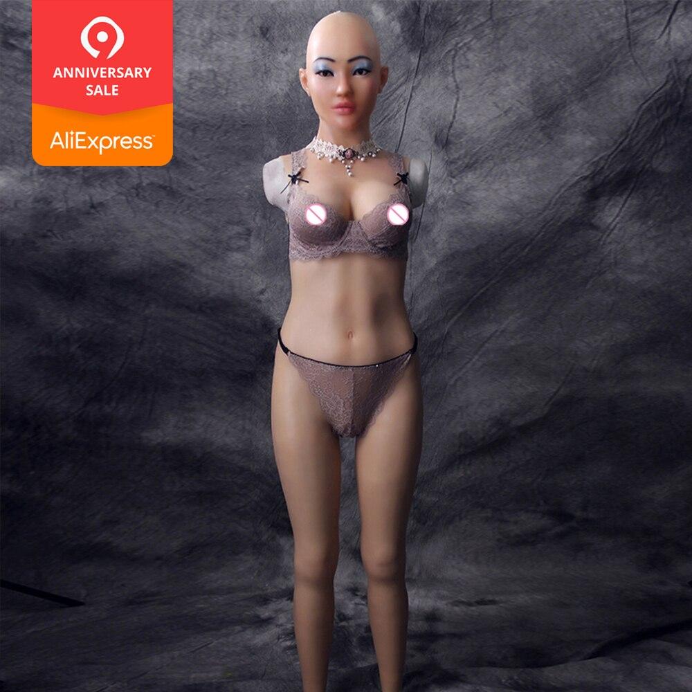 Selina tuta completa con con dea viso per cosplay Zentai vestito falso tette per crossdresser drag queen forme del seno della vagina