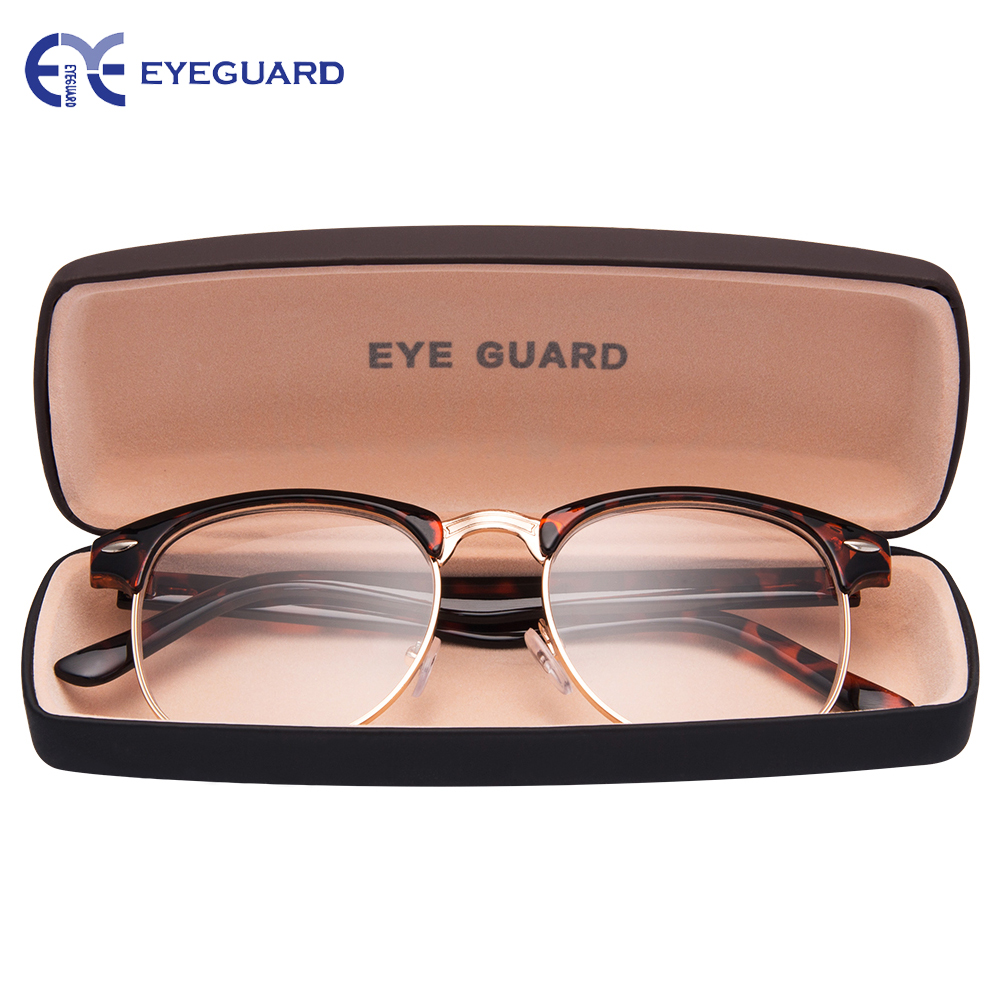 EYEGUARD Round Half Frame Metal Spring Hinges Classic Reading Glasses Readers Unisex Men & Women with Hard Case Demi