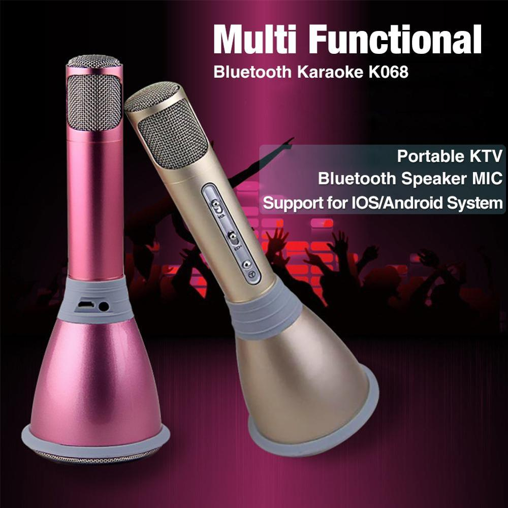 K068 Bluetooth Wireless Microphone with Mic Speaker Condenser Mini Karaoke Player KTV Singing Record for Smart Phones Computer 3 5mm jack audio condenser microphone mic studio sound recording wired microfone with stand for radio braodcasting singing