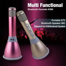 K068 Bluetooth Wireless Microphone with Mic Speaker Condenser Mini Karaoke Player KTV Singing Record for Smart Phones Computer