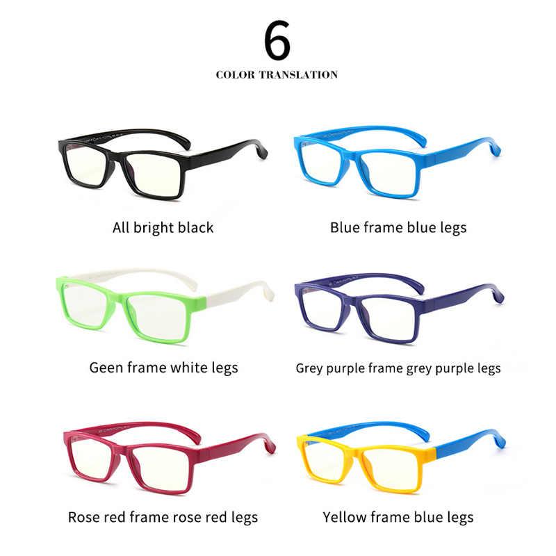 Anti Blue Ray Óculos Crianças TR90 Armações de Óculos de Titânio Ultraleve Flexível Amarelo Crianças Computador Retângulo Óculos CN1069