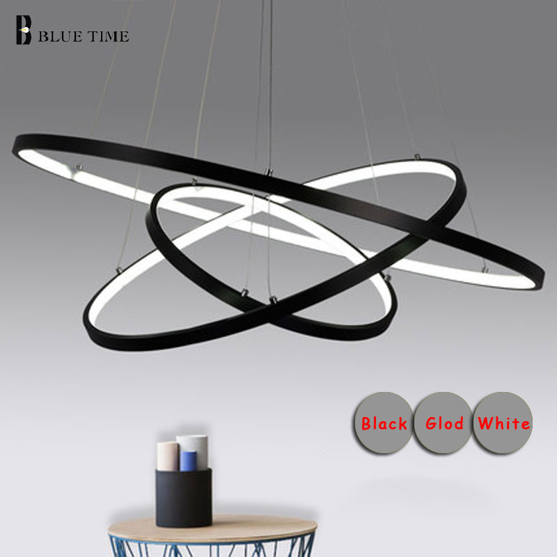 Moderne lumières lustre pour salon salle à manger 4/3/2/1 Cercle Anneaux acrylique corps en aluminium LED Éclairage Lampe appareils