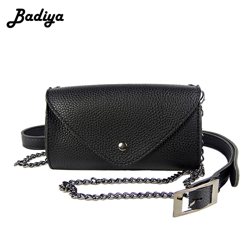 Brife Chain Fashion Women Solid Shoulder Bag Waist Pack PU Leather Belt Waist Bag Ladies Portable Phone Case Female