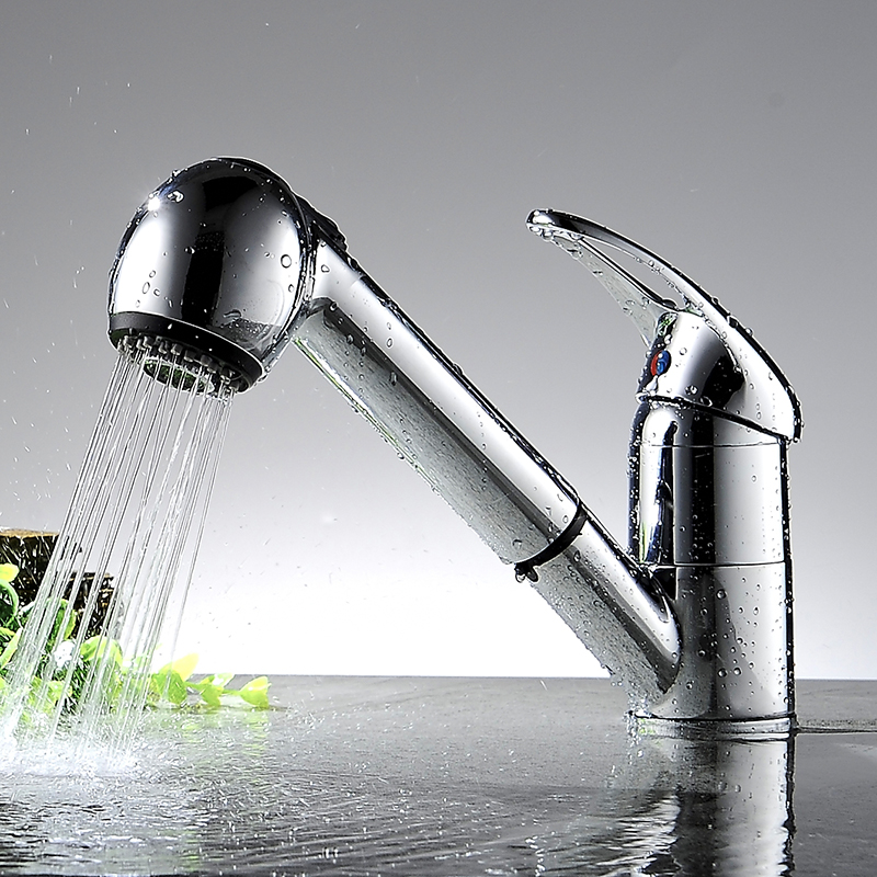 Modern Luxury Pull Out Kitchen Faucet Deck Mount Chrome Kitchen Water Taps Hot and Cold Water