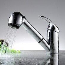 Современные Роскошные Pull Out Кухонный Кран Палуба Гора Chrome Кухня Водопроводные Краны Горячей и Холодной Воды Одной Ручкой YC-CL3002