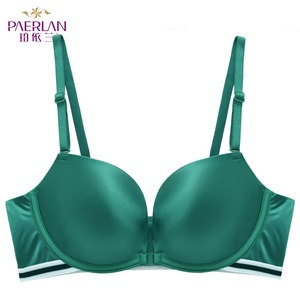 Image 2 - PAERLAN Seamless Push Up Front Closure Wire Free Stripe Beauty Back Bra  Small Breast Gathers Sexy Green Underwear Women