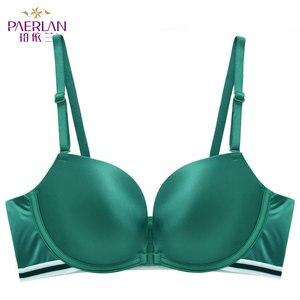 Image 2 - Paerlanシームレスプッシュアップワイヤー送料ストライプ美容バックブラジャー小さな胸ギャザーセクシーなグリーン下着女性