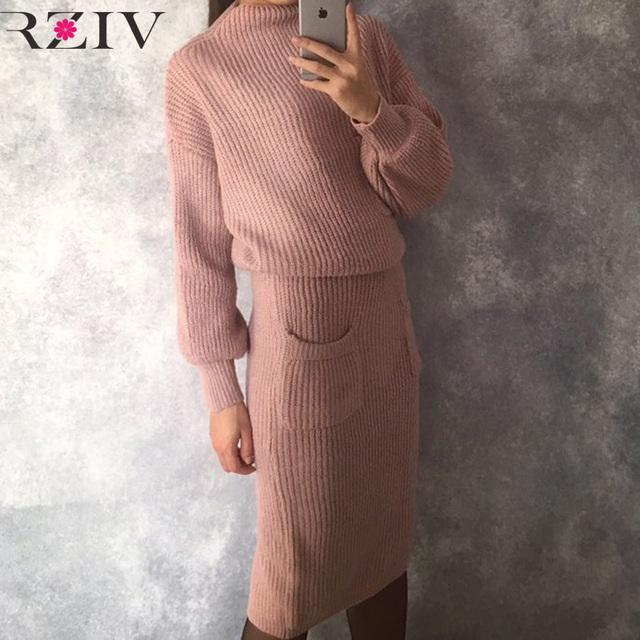 Frênulo rziv 2016 outono e inverno mulheres casuais decoração bolso cor sólida malha terno de saia