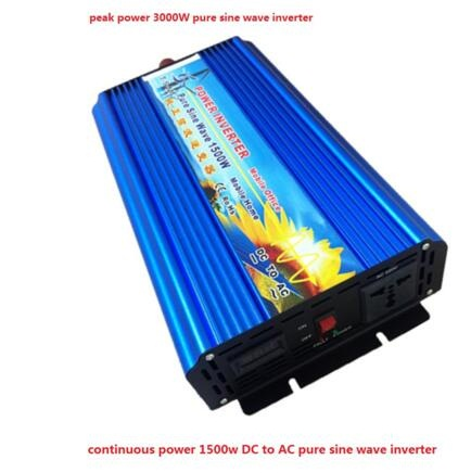 цена на 1500W Pure Sine Wave Power Inverter 12V/24V DC INPUT to 120V/220V AC OUTPUT 50HZ/60HZ Peak power 3000W power inverter