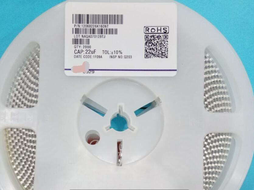 Original New 1206 226K 22UF 16V 10%  SMD Ceramic Capacitor 1206B226K160NT  x1000 pcs резистор vi 20 1206 10 k 1002 0 1 1206 10k