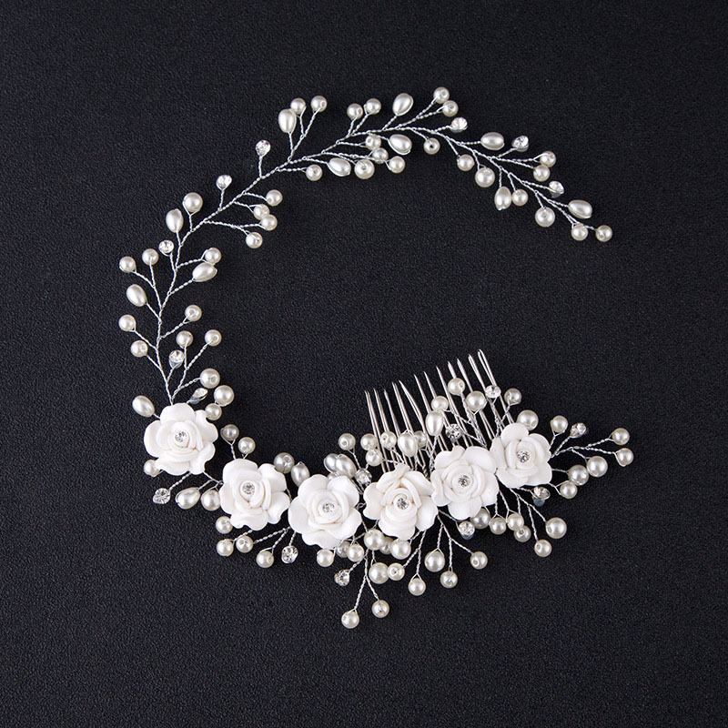 White Pearl Flower Hair Combs Jewellery Tiaras Women Headband with Comb Bridal Hair Jewelry Wedding Hair Accessories For Bride