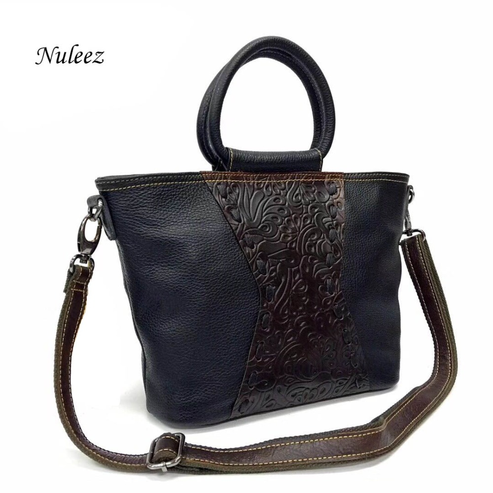 Nuleez genuine cowhide real leather tote-bag appliques women big versatile cross-body 2018 autumn newNuleez genuine cowhide real leather tote-bag appliques women big versatile cross-body 2018 autumn new