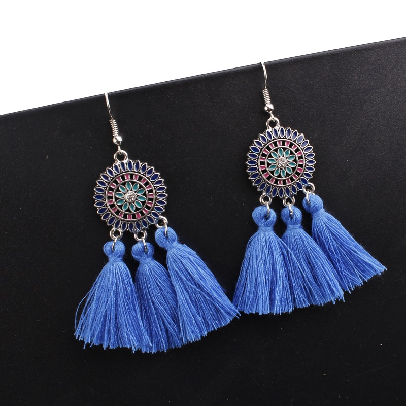 Exknl Long Vintage Fringed Drop Tassel Earrings Women Bohemian Round Big Earrings Ethnic Party Dangle Earrings Fashion Jewelry 2