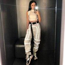 Hip Hop Harajuku pantalones reflectantes Casual alta cintura Cargo pantalones mujeres Joggers caqui señoras pantalones algodón Streetwear