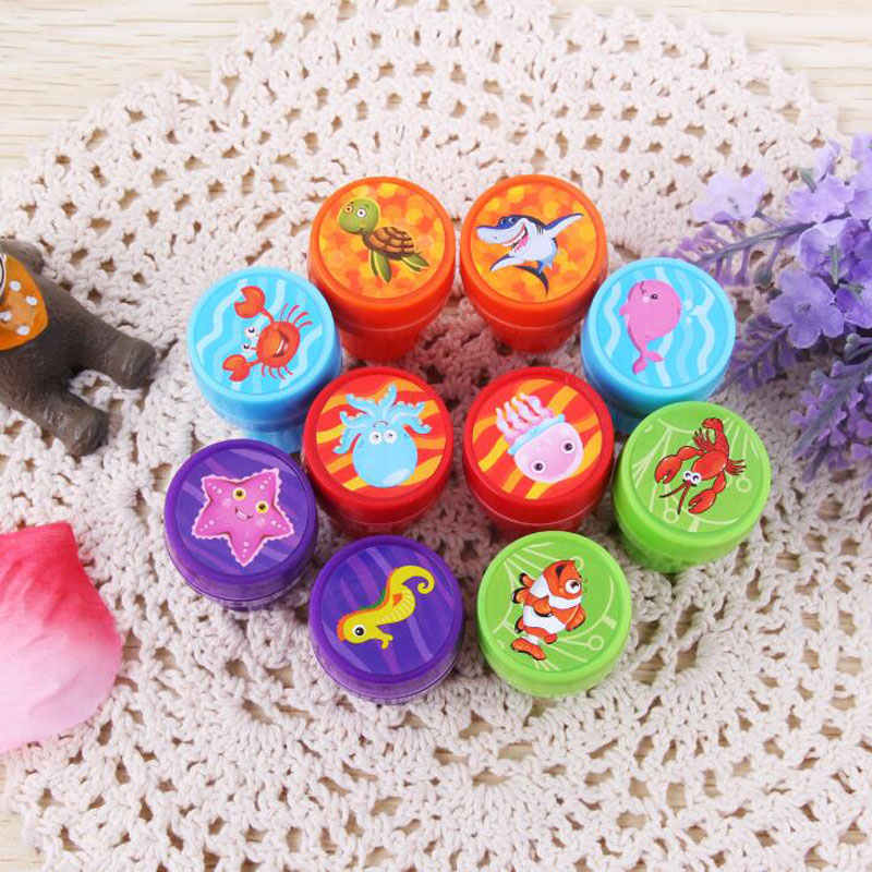 1pcs Underwater World Seal Round Plastic Cartoon Bring Inkpad Seal Toy School Office Party Favors Kids Educational Stationery