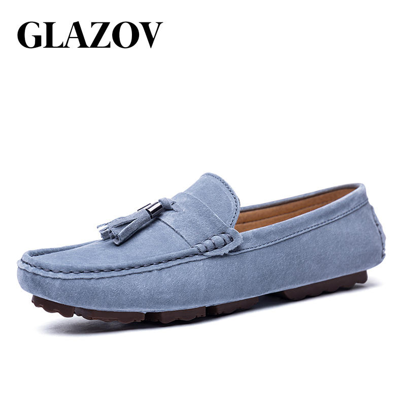 GLAZOV Luxury Brand Fashion Soft Moccasins Men Loafers High Quality Genuine   Leather   Shoes Mens Flats   Suede   Driving Shoes Blue