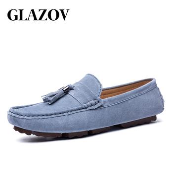 GLAZOV luksusowej marki mody mokasyny miękkie męskie mokasyny wysokiej jakości oryginalne skórzane buty męskie mieszkania zamszowe buty do jazdy samochodem niebieski tanie i dobre opinie Pig Suede Prawdziwej skóry Lato Świńskiej Dla dorosłych 409889Q30C75 Pasuje prawda na wymiar weź swój normalny rozmiar