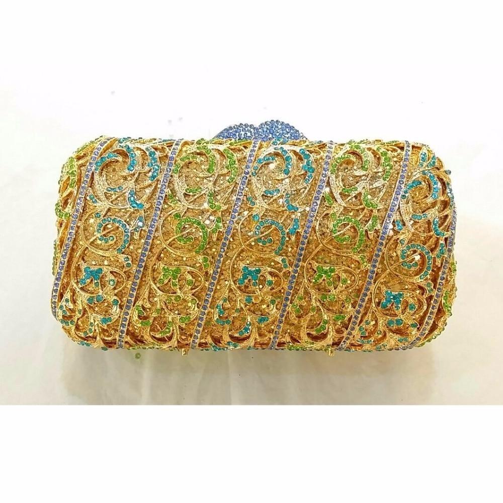 ФОТО 8315B Crystal Lady Fashion Wedding Bridal Party Night hollow Metal Evening purse clutch bag box handbag case