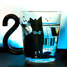 New Cute Creative Cat Kitty Glass Mug Cup Tea Milk Coffee Music/Dots/English Words Home Office