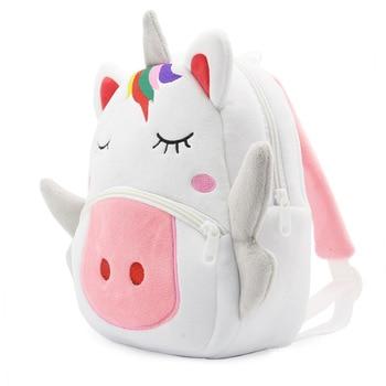 Cartoon Rainbow Unicorn Kids School Bags for Girls Soft Plush Bag Kindergarten Toddler Children Backpack Boys 2
