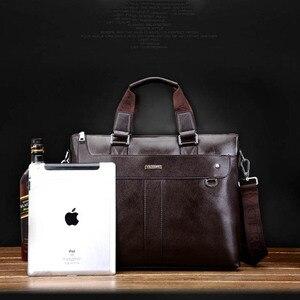 Image 5 - אופנה גברים תיק זכר עסקי תיק גברים מותג יוקרה מחשב נייד באיכות גבוהה תיק כתף שקיות