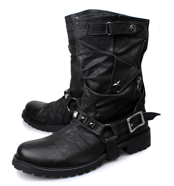 Akamatsu Genuine Leather Slip On Buckle Rivet Chain Decor Men Boots Punk Mid Calf Cowboy Retro Round Toe Motorcycle Boots цена