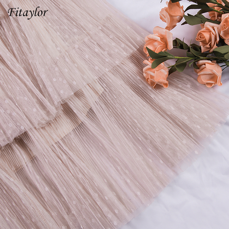 Image 5 - Fitaylor Spring New Sweet Cake Layered Long Mesh Skirts Princess High Waist Ruffled Vintage Tiered Tulle Pleated ins Skirts-in Skirts from Women's Clothing