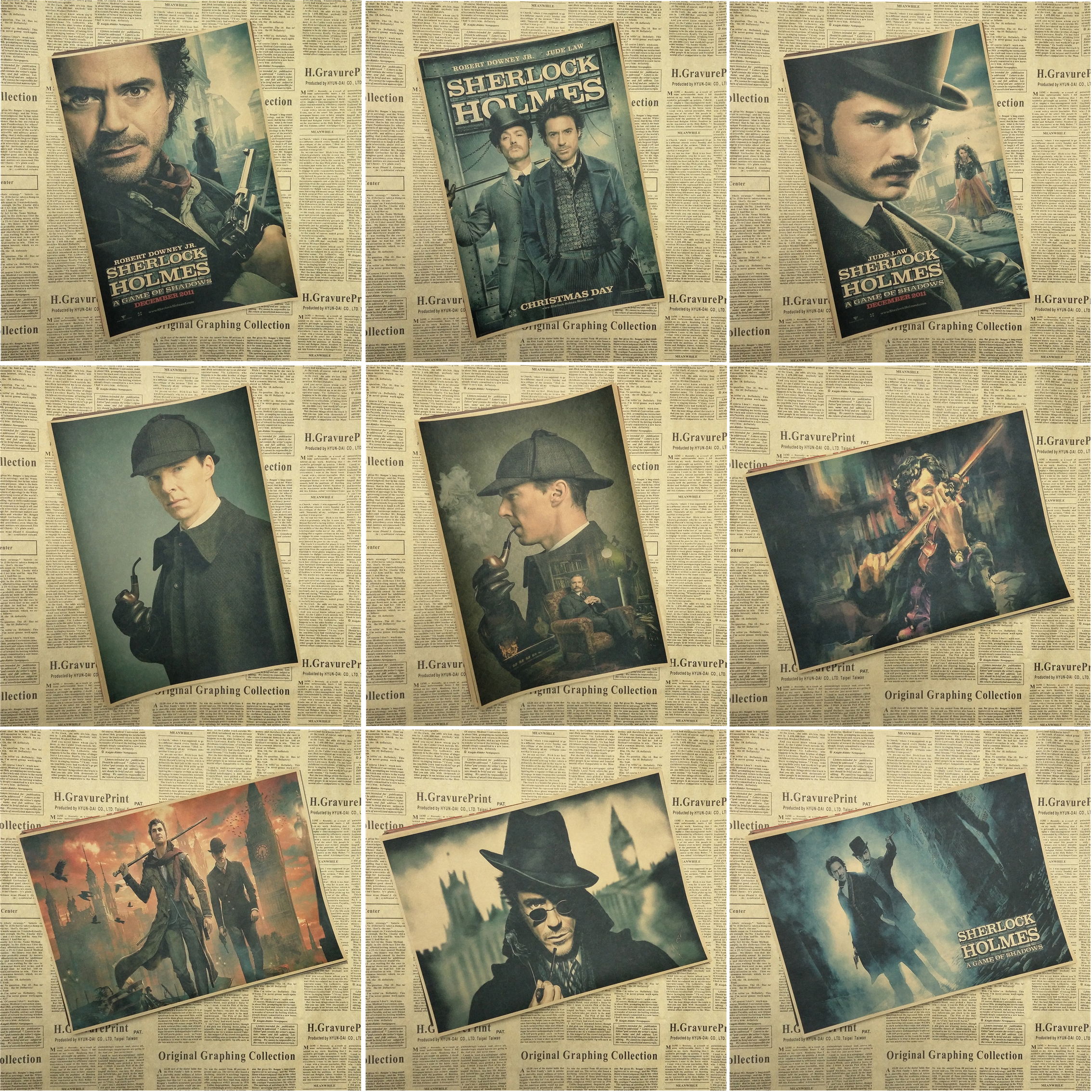 Sherlock Holmes American TV Series Home Furnishing decoration Kraft Movie Poster Drawing core Wall stickers