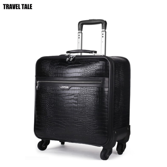 e77eab53f TRAVEL TALE Black Leather Trolley Luggage suitcase Business Trolley Case  Men's Suitcase Travel Luggage