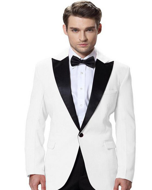 ca3ecd2f42fd Elegant Sigle Breasted Man Suits White/Gold/Grey Groom Tuxedos Groomsman Wedding  Suits Business Men Work Wear (Jacket+Pants+Bow)