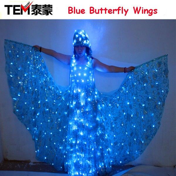 Синий светодиодный светящиеся крылья светящиеся Для женщин леди крылья бабочки СВЕТОДИОДНЫЙ подсветкой платье/светящиеся костюмы pas de син