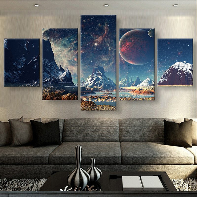 Delightful 5 Pieces Canvas Prints MOUNTAINS AND SPACE Sport Canvas Painting Poster  Home Decor Wall Art For