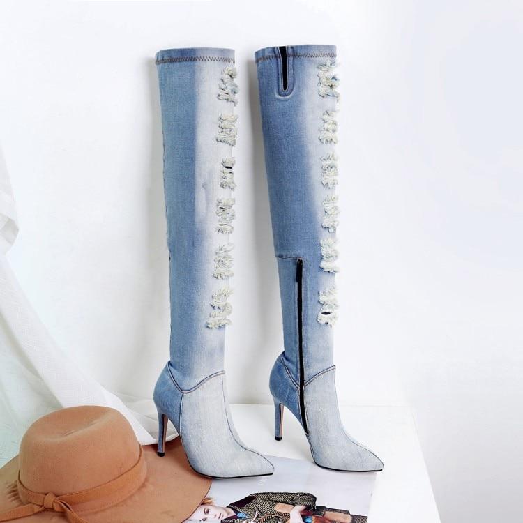 2018 Verano Por Sexy Azul Punta Botas Moda Mujer Alto {zorssar} Nueva Rodilla Primavera Tacones Tacón Zapatos La De Encima d8ng6