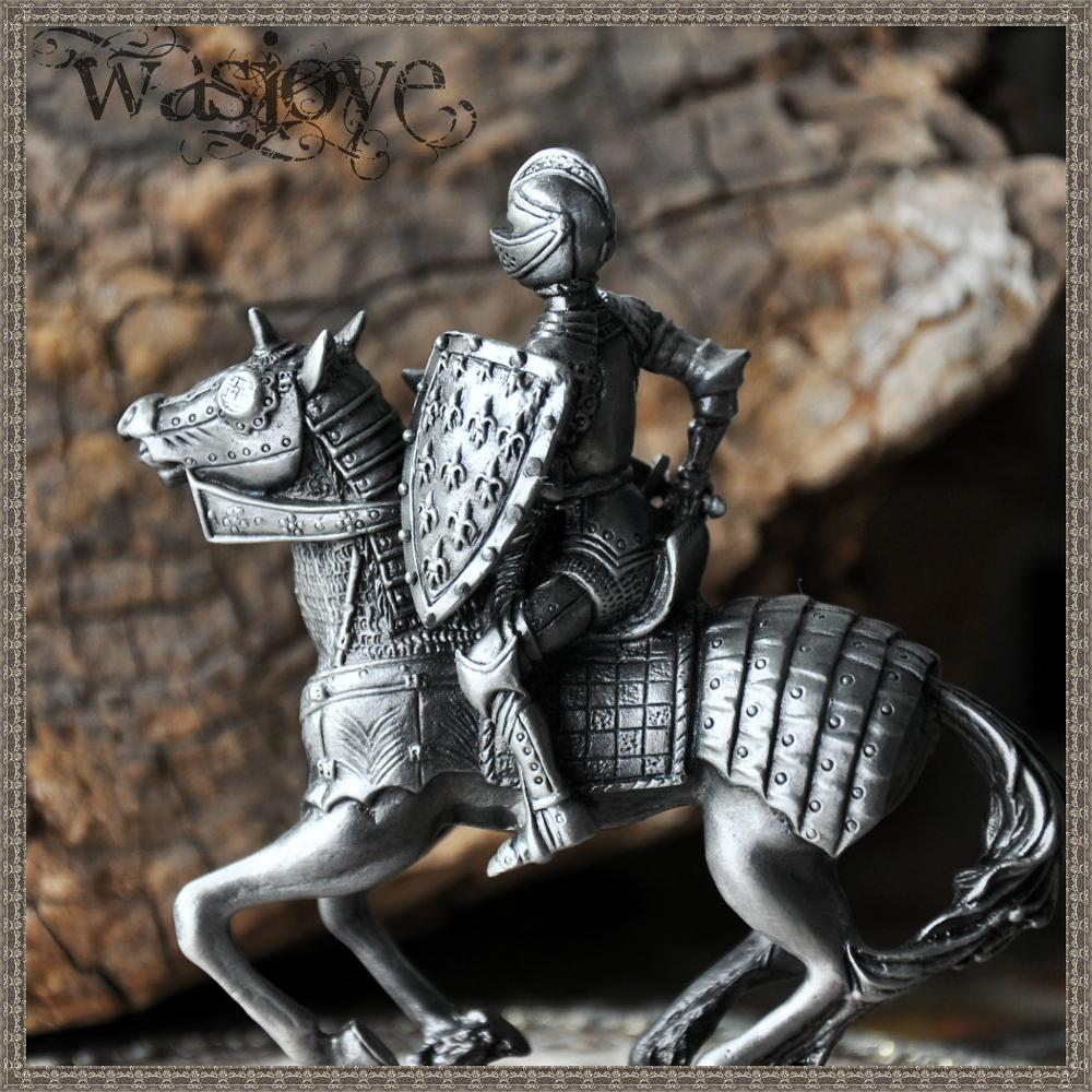 Classical European Warrior Soldier on Horseback Home Club Table Decoration Ornaments Gift