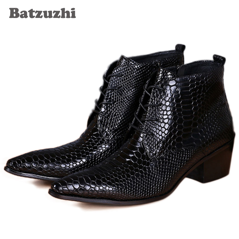 Batzuzhi Japanese Style Fashion Men Boots Pointed Toe Snake Pattern Leather Ankle Boots for Men 6.5CM Heels High Motocycle Boots fashion rabbit and grass pattern 10cm width wacky tie for men