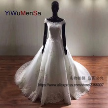 YiWuMenSa Scoop neck Wedding dresses 2017 Custom made Lace up lace appliques Beads Crystals China bridal gowns wedding dress New
