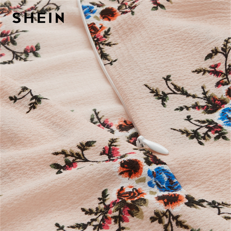4c740f168a SHEIN Lace Up Racerback Calico Dress Backless A Line Halter Sexy Maxi Dress  2018 Women Summer Pink Sleeveless Floral Party Dress-in Dresses from  Women's ...