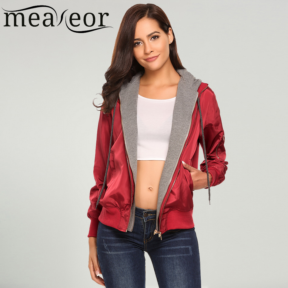 Meaneor Women's Hoodie Patchwork Casual Autumn   Jackets   Front Zipper Warm Relaxed Fit Pockets Drawstring Bomber   Basic     Jacket