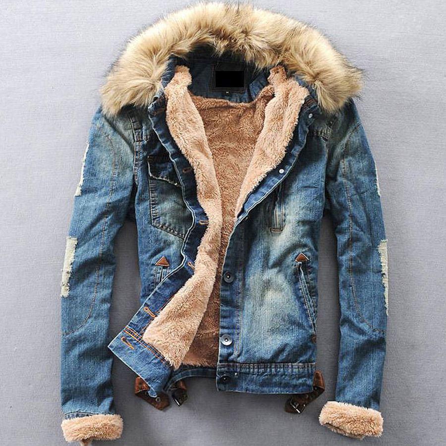 2018 Winter Ripped Denim Jacket Men Clothese Jean Coat Men