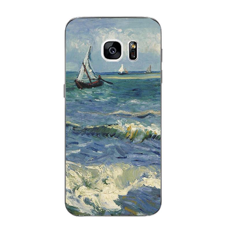 Untuk Samsung Galaxy Kasus Telepon Untuk Galaxy S7 S7 Tepi Tepi G9350 Pola Capa Transparan Ultra Tipis Penutup Silikon Gel