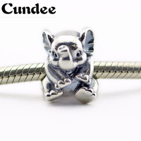 Fit Pandora Bracelet Lucky Elephant Silver Charms 100 Original 925 Sterling Silver DIY Beads For Jewelry