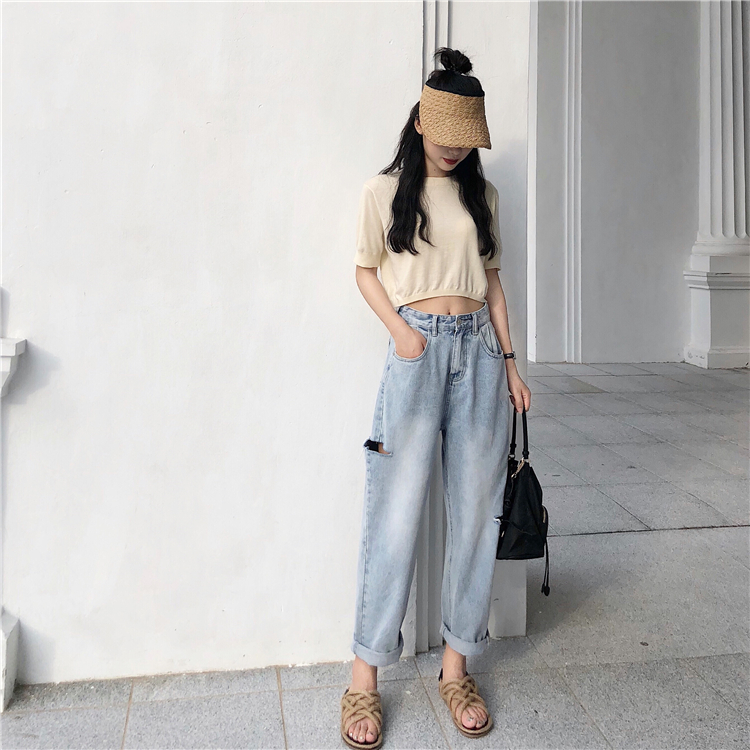 2019 New Arrivals Fashion Hot Women Denim Pants High Waist Ripped Hole Jeans Slim Straight Jeans Casual Jeans in Jeans from Women 39 s Clothing