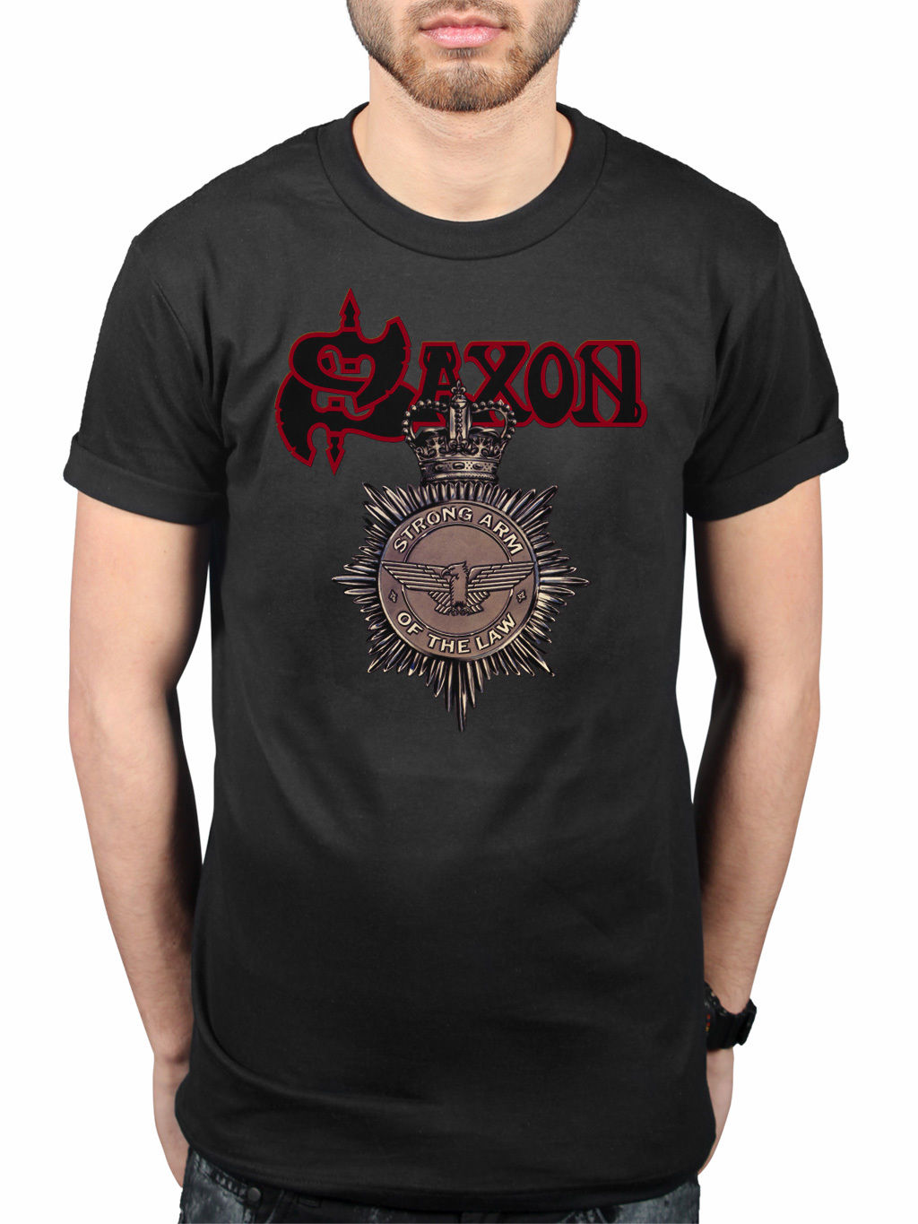 Official Saxon Strong Arm Of the Law T-Shirt Heavy Metal Band Merchandise 2018 New Arrival Men T Shirt New