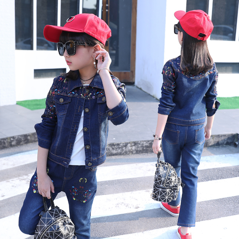 Toddler Girl Clothes Floral Jacket Cotton Long Sleeve T-shirt Jeans Size 4 6 8 10 12 T Boutique Kids Clothing Sets 3 Pcs children clothing 6 8 9 10 11 12 years girls clothes suit cartoon jacket cotton long sleeve t shirt jeans boys clothes sets 3pcs