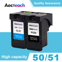 Aecteach PG50 CL51 for Canon PG 50 CL 51 Ink Cartridge Pixma iP2200 iP6210D iP6220D MP150 MP160 MP170 MP180 MP450 Printer