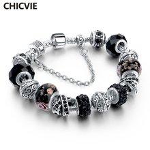 Женский браслет с цепочкой chicvie на заказ черным кристаллом